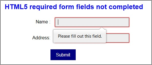 feld validierung html error message